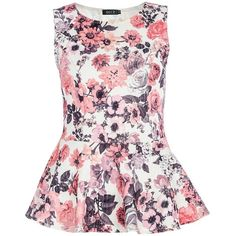 Quiz Textured flower print peplum top (€14) ❤ liked on Polyvore featuring tops, shirts, tank tops, blouses, blusas, women, floral tank top, floral collared shirt, collared shirt and floral print shirt