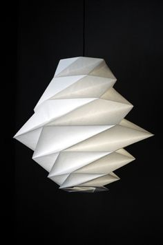 Origami inspired light designed by Issey Miyake Interior Lighting, Lighting Design, Deco Luminaire, Paper Light, False Ceiling Design, Best Dining, Deco Design, Issey Miyake, Dining Room Design