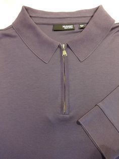 MURANO Liquid Cotton 2XL Purple Long Sleeve Polo Shirt Men Soft Zipper Placket #Murano #PoloRugby