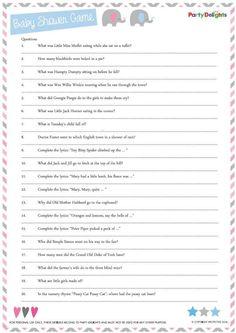 free printable nursery rhyme quiz baby gameseasy baby shower