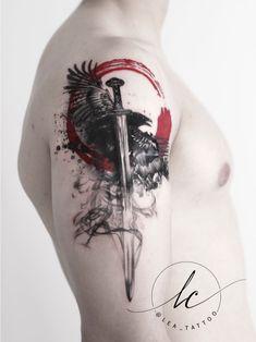 Polka trash inspired viking theme: the sword depicts Gram, which the hero Sigurd Fafnersbane - Tattoo MAG Viking Sword Tattoo, Viking Tattoo Sleeve, Viking Tattoos, Viking Tattoo Design, Skull Tattoos, Hand Tattoos, Body Art Tattoos, Sleeve Tattoos, Cool Tattoos