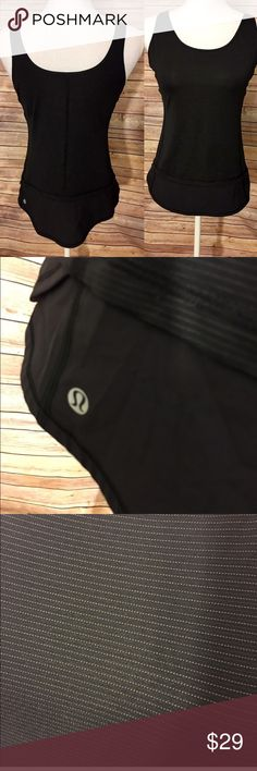 Lululemon black scoop neck and back tank top Gently used, black with thin stripes. lululemon athletica Tops Tank Tops