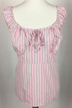 Zoey Beth Plus Women 2X Sleeveless Peasant Shirt Top Key Hole Tie Pink Striped #ZoeyBethPlus #SleevelessShirtTop #Casual