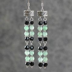 Tribal Green and Black Beaded Earrings