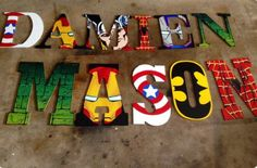 Andrea Custom Order for Z's birthday Avengers Room, Marvel Room, Superhero Room, Batman Room, Reno, Kids Bedroom, Bedroom Ideas, Kids Decor, Playroom