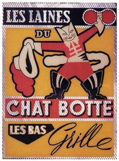 Cats in Art, Illustration, Photography, Design and Decorative Arts: Les Laines du Chat Botté glass advertising sign (ill. by Leon Gischia), 1935