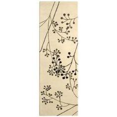 "Handmade Vine Ivory/Gray New Zealand Wool Runner Rug (2'6"" x 12')"