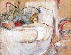 "By Henri de Toulouse-Lautrec ""Au lit"", Oil on cardboard, musée Toulouse-Lautrec. Henri De Toulouse Lautrec, Art Nouveau, French Artists, Pictures To Draw, Life Drawing, Beautiful Paintings, Van Gogh, Find Art, Portraits"
