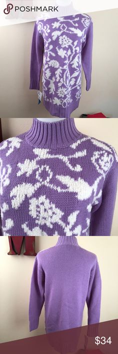 """VINTAGE CLASSIQUES ENTER Wool-blend Sweater Tunic 80s style oversized tunic sweater. Lavender with white fuzzy florals. Try it over skinny jeans or as a mini sweater dress.  Length: 32"""" Bust: 20"""" flat New! Check-out the old school Nordstrom sale tag! Sweaters"""