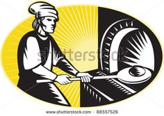 vector illustration of a medieval baker baking holding a  bread pan into wood fire oven set inside ellipse done in retro woodcut style. - stock vector #baker #woodcut #illustration