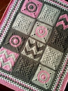 "Items similar to BabyLove Brand ""Modern Nine-Patch"" Patchwork quilt style crochet Blanket great color pink grey toddler/baby shower lapghan on Etsy Crochet Afghans, Afghan Crochet Patterns, Baby Blanket Crochet, Crochet Baby, Crochet Blankets, Crochet Stitch, Crochet Motif, Crochet Flowers, Patchwork Blanket"