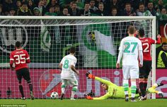 Wolfsburg 3 Manchester United 2: David De Gea is helpless to stop Vieirinha tapping in from just yards out to put Wolfsburg 2-1 ahead