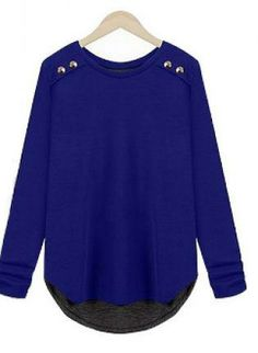 Blue Layered Look Top with Button Details #casual #top #ustrendy