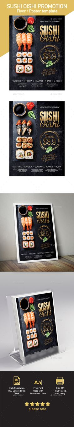 Buy Japanese Sushi Flyer / Poster Template by tunagaga on GraphicRiver. Commercial sale flyer / poster template suited for Sushi, Japanese cuisine restaurant… size poster template, . Restaurant Poster, Restaurant Menu Design, Restaurant Restaurant, Sushi Restaurants, Sushi Recipes, Raw Food Recipes, Sashimi, Japan Sushi, Food Truck Festival