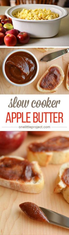 This recipe for slow cooker apple butter is incredibly easy and tastes AMAZING! The hardest part is peeling the apples and waiting for it to finish cooking!