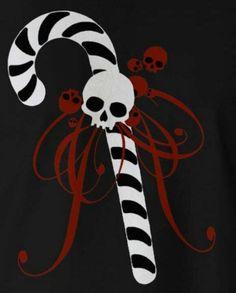 Cool skull n candy cane. Dark Christmas, A Christmas Story, Christmas Art, Christmas Stuff, Christmas Jingles, Halloween Trees, Halloween Christmas, Goth Art, Christmas Aesthetic
