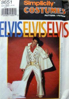 Vintage Simplicity 8651 Pattern Elvis White by VintageNeedleFinds,