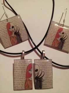 Jack and sally love letters (his) necklace (her) necklace and earrings *jewelry