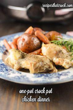 One Pot Crock Pot Chicken Dinner #crockpot