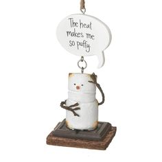 The puffier they get, the sweeter marshmallows get! Get this s'more ornament for someone who loves to play with his or her food. This heat makes me so puffy! Christmas Decorations, Christmas Tree, Toasted Marshmallow, Personalized Christmas Ornaments, How To Make Ornaments, Graham Crackers, Fun Crafts, Place Card Holders, Teal Christmas Tree