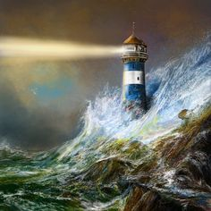 The ocean isn't strong enough for this lighthouse in the painting