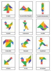 Dessins divers en couleur pour jeu tangram à imprimer gratuitement