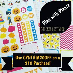 Hey y'all! Treat yo'self to 20% off a $10 purchase by using CYNTHIA20OFF at Plan with Pizazz's etsy sticker shop  #PWPPR #planwithpizazz