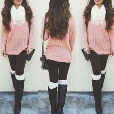 Cute pink sweater with white scarf, black skinnies, black boots and white leg warmers!