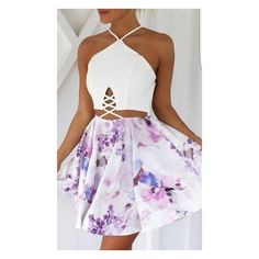 Over The Rainbow White Pink Purple Blue Floral Spaghetti Strap Halter... ($98) ❤ liked on Polyvore featuring dresses, outfits, purple dress, halter top, white a line dress, white halter dress and halter crop top