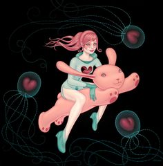 Love this .... Tara McPherson | ART Paintings Bunny in the Moon The Love Space Gives Is as Deep as the Oceans