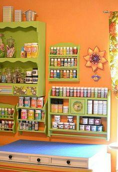 Craft Room ~ repainted old spice racks
