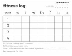 Monthly Fitness Log Printable Freebie. ** Figure out even more at the photo link