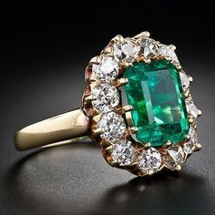 Solid 14K Yellow Gold Natural Green Emerald Diamond Antique Vintage Ring Sz 6.5