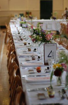 Church hall style wedding.