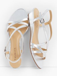 Capri Crisscross-Strap Wedges - Metallic | Talbots - I like the silver and the gold