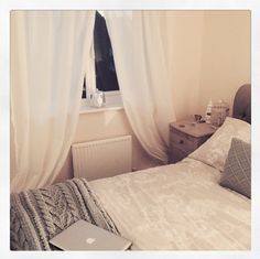 I love our new bedroom. Laura Ashley josette bedding in dove grey with some contrasting duck egg cushions, white voile curtains and chunky duck egg throw