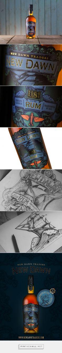 New Dawn 18 Year Rum label design by Kingdom & Sparrow (UK) - http://www.packagingoftheworld.com/2016/08/new-dawn-18-year-rum.html