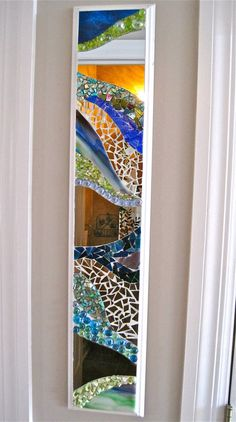 """Items similar to SOLD 6""""x30"""" narrow mosaic mirror. Blue, green glass, shells on white MDF. on Etsy"""