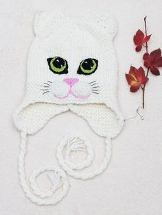1957e4d32f White Pussy Cat Hat Pussy Ear Hat Cat Ear Hat Hat With Cat Earflap Hat Kitty