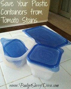 Save plastic containers from tomato stains!