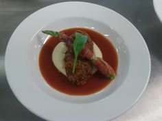 Made for a high school assessment: Herb Crusted Veal Tenderloin on Mash with a Beef Jus, served with pan fried asparagus wrapped in pancetta (OC) [2560x1920] (via #spinpicks)