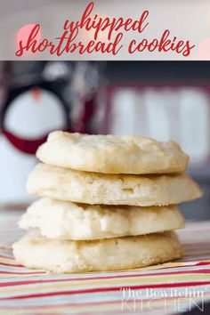 These no-fuss shortbread cookies will be whipped up in no time and ready to shine on your Christmas cookie plate! #christmascookies #whippedshortbreadcookies #cookierecipe #easy Scottish Shortbread Cookies, Whipped Shortbread Cookies, Shortbread Recipes, Best Cookie Recipes, Baking Recipes, Dessert Recipes, Free Recipes, Kitchen Recipes, Dessert Ideas