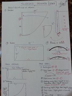 Telekung Lycra Sewing Hacks, Sewing Tutorials, Sewing Projects, Pattern Cutting, Pattern Making, Sewing Patterns Free, Fabric Patterns, Tudung Shawl, Abaya Pattern