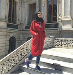 long red trench jacket hijab- Hijab fashion and Muslim style http://www.justtrendygirls.com/hijab-fashion-and-muslim-style/