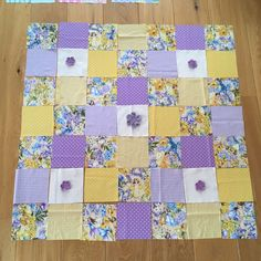 Michael Miller's fairy fabric in combination with yellow and lilac and my crochet flowers.