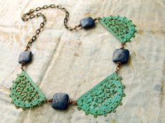 Chunky necklace Turquoise green Lapis Patina by Gypsymoondesigns, $59.00
