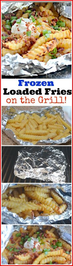 Grilled Foil Packet Frozen Cheese Fries – Grilled Frozen Cheese Fries - Delicious cheesy fries make the perfect side dish to your cook out burgers! Foil Packet Dinners, Foil Pack Meals, Foil Dinners, Summer Grilling Recipes, Summer Recipes, Healthy Grilling, Grilling Sides, Vegetarian Grilling, Grilled Foil Packets