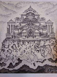 I have been inspired by different artists that draw magical worlds, etc, like Tolkien, Brian Froud, and others.   I had been at home with the flu, when I started this picture, and it took me two weeks to finish it, all in pen & Ink.  I'm very proud of this piece. I call it Atlantis, because its how I imagined it to be rising out of the sea, also the rock it sits on, was a large stone I found on a beach, pity I don't still have it.    The picture however, sits in my old art file.
