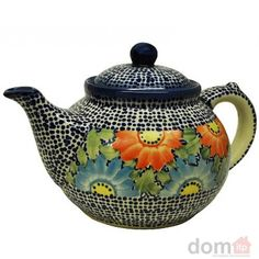 Hand painted and decorated Polish pottery tea pot.