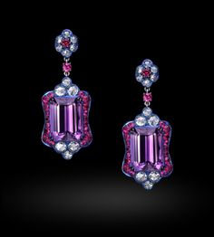 Carnet earrings with diamond ruby amethyst & pink sapphire
